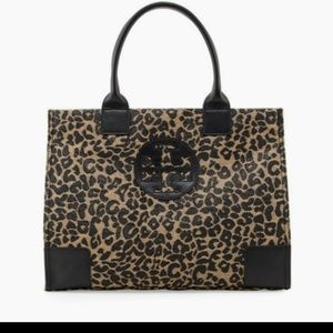 Tory Burch Raffia leopard print tote with leather
